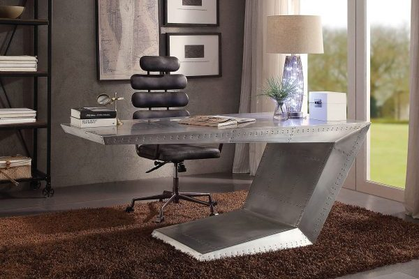 """The Aleida"" Industrial Vintage Aluminum Office Desk"