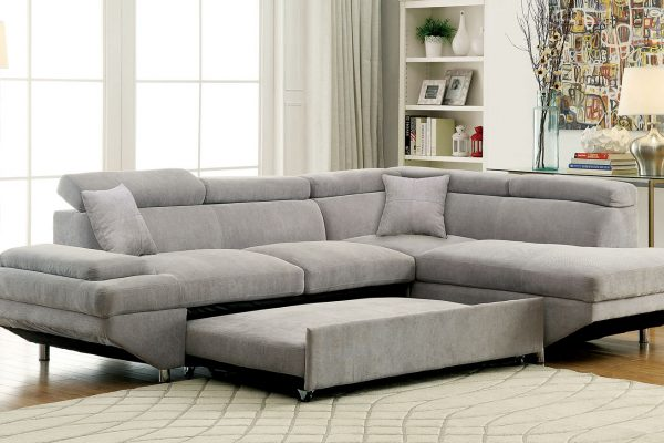 """""""The Anthony"""" Contemporary Flannel SLEEPER Sectional – COMING IN FEBRUARY!"""