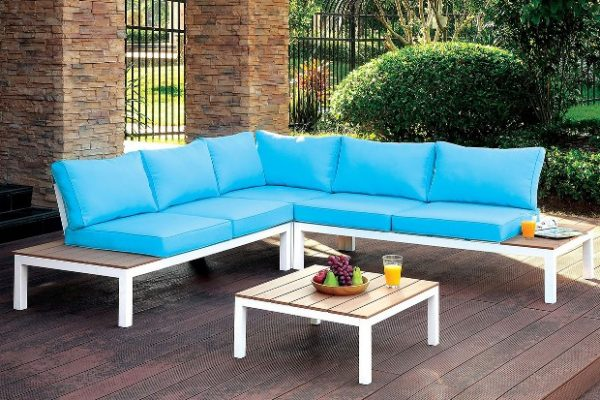 """The Barcelona"" Patio Sectional w/ Ottoman in Blue or Gray"
