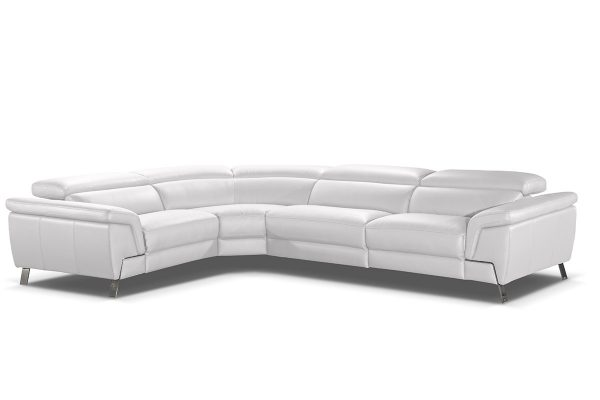 """""""The Bellisima"""" Italian Modern White Leather Sectional w/ Recliner – LOW INVENTORY!"""