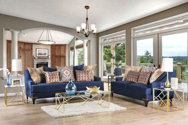 """""""The Blue Dream"""" Contemporary Navy Blue and Espresso Sofa Set – LOW INVENTORY!"""