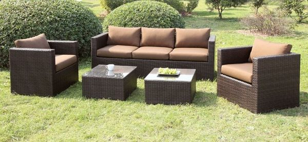 """The Casablanca"" 5 PC Outdoor Sofa Set in Ivory and Brown"