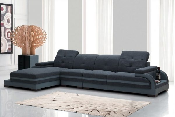 """""""The Cassidy"""" Modern Fabric & Leather Sectional – SOLD OUT, NO ETA"""