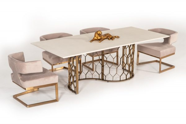 """""""The Emperor"""" Modern White Concrete & Antique Brass Dining Collection – COMING END OF FEBRUARY!"""