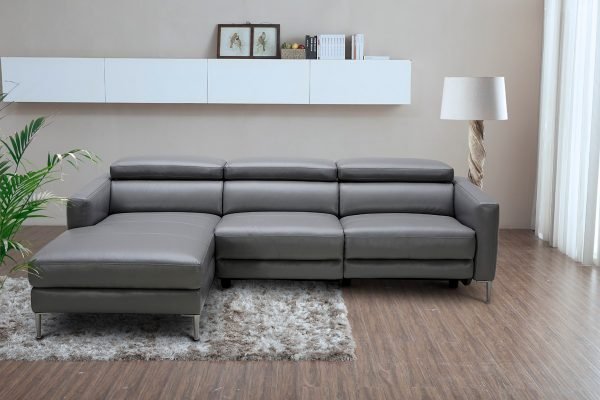 """""""The European Retro"""" Modern Dark Grey Leather Sectional Sofa w/ Electric Recliner – LOW INVENTORY!"""