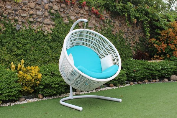 """The Fishbowl"" Outdoor White & Aqua Blue Hanging Chair"