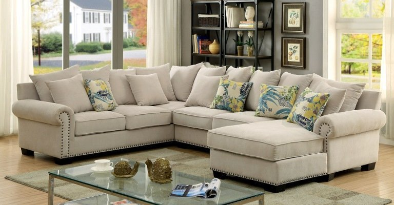 """The Gabrial"" Cozy Ivory Sectional – 52% OFF, SPECIAL SALE!!!"