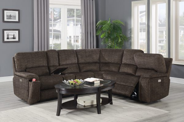 """""""The Grandstand"""" Brown Versatile Power Motion Sectional"""