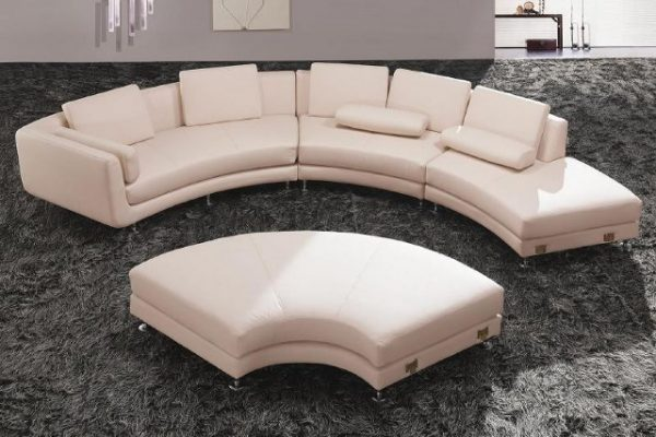 """""""The Jewel"""" White Leather Contemporary Sectional"""