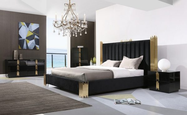 """""""The Kings Lair"""" Elegant Black & Champagne Gold Bedroom Set – COMING IN JANUARY!"""