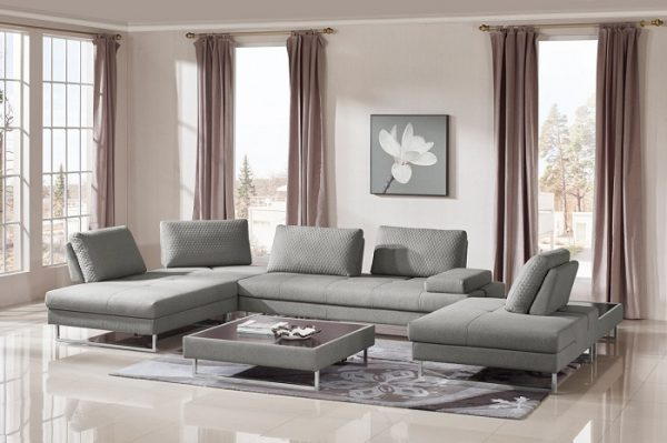 """The Lara"" Grey Fabric Sectional – Sofa & Coffee Table Set"