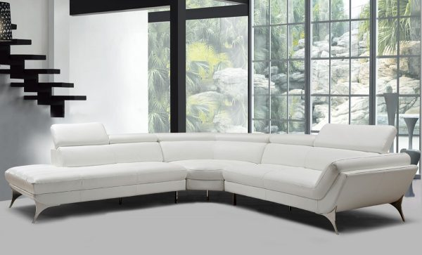 """""""The Laurence"""" Modern White or Grey Full Genuine Italian Leather Sectional Sofa – LOW INVENTORY!"""