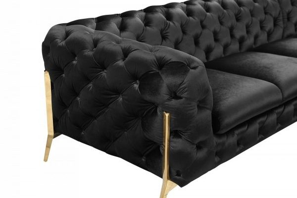 """""""The Liberace"""" Modern Black Velvet Sectional Sofa – COMING IN FEBRUARY!"""