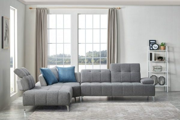 """""""The Lighthouse"""" Contemporary Grey Tufted Fabric Sectional Sofa w/Adjustable Backrest – COMING END OF JANUARY!"""