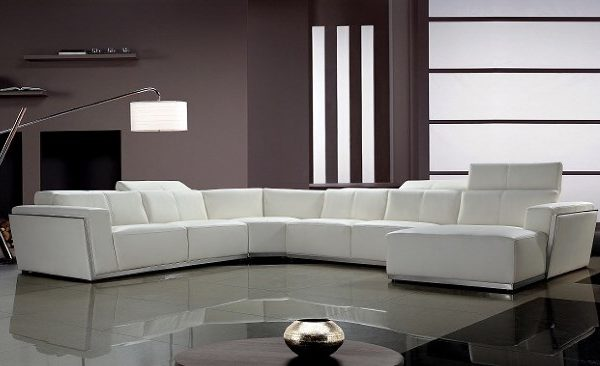 """""""The Makenzie"""" Contemporary White Leather Sectional – SOLD OUT, NO ETA"""