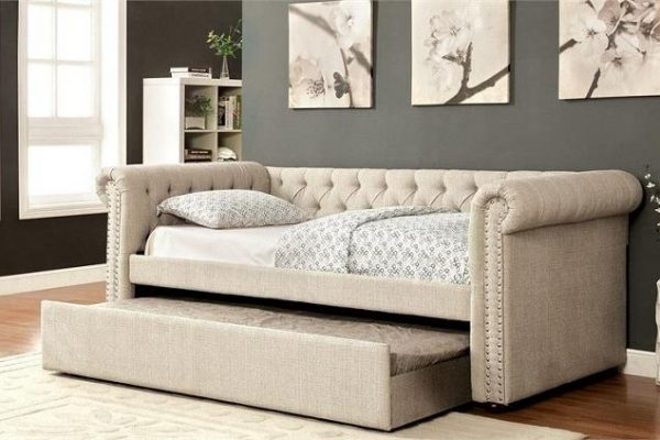 """""""The Rebecca"""" Beige Tufted Daybed w/ Trundle in Twin, Full or Queen – COMING IN MARCH!"""