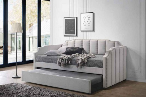 """""""The Ronen"""" Modern Grey Fabric Padded Twin Daybed and Trundle – SOLD OUT, NO ETA"""
