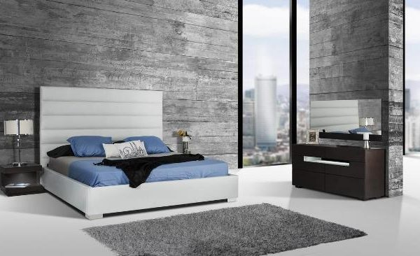 """""""The Silverado II"""" Modern White Leatherette Bed Collection – SOLD OUT, NO ETA"""
