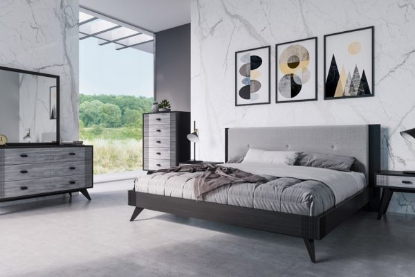 """The """"Black Panther"""" Contemporary Grey & Black Bedroom Set"""