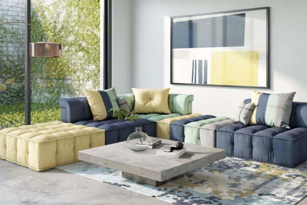 """""""The Dubai"""" Modern Modular Fabric Sectional Sofa"""